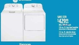 Kenmore 3.8 cu. ft. Washer or 7.2 cu. ft. Dryer