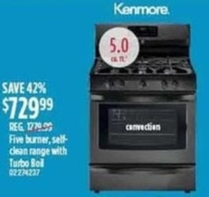 Kenmore Five Burner Self Clean Range With Turbo Boil