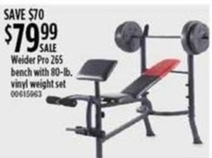 Weider Pro 265 Bench w/ 80lb. Vinyl Weight Set