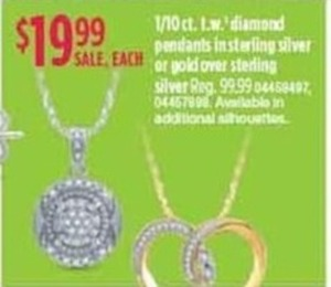 1/10 ct. t.w. Diamond Pendants in Sterling Silver or Gold