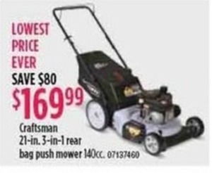 "Craftsman 21"" 3-in-1 Rear Bag Push Mower"