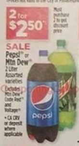 Pepsi or Mountain Dew 2 Liter
