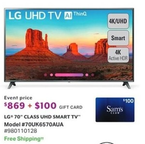 "LG 70"" Class UHD Smart TV + $100 Gift Card"
