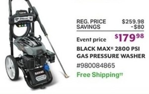 Black Max 2800 PSI Gas Pressure Washer