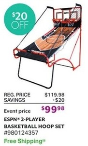 ESPN 2-Player Basketball Hoop Set