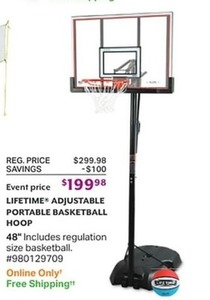Lifetime Adjustable Portable Basketball Hoop