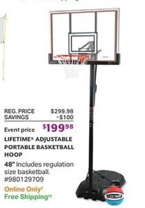 Lifetime Adjustable Portable Basketball Hoop