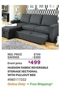 Hudson Fabric Reversible Storage Sectional W/Pullout Bed