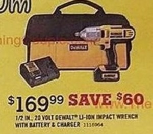 DeWALT 1/2 in. 20V Li-Ion Impact Wrench with Battery & Charger