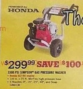 Honda 3300 Psi Simpson Gas Pressure Washer