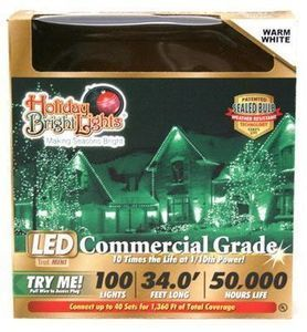 Christmas LED Light Set, T5, Commercial-Grade, Warm White, 100-Ct.