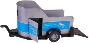 My life as gray and blue horse trailer with fold down tailgate