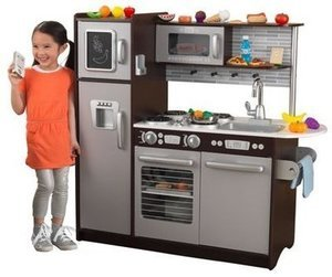 KidKraft Uptown Espresso Kitchen with 30 Piece Play Food Set