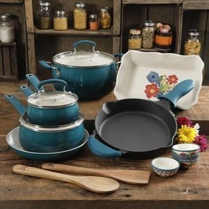 The Pioneer Woman Dazzling Dahlias 17 Piece Cookware
